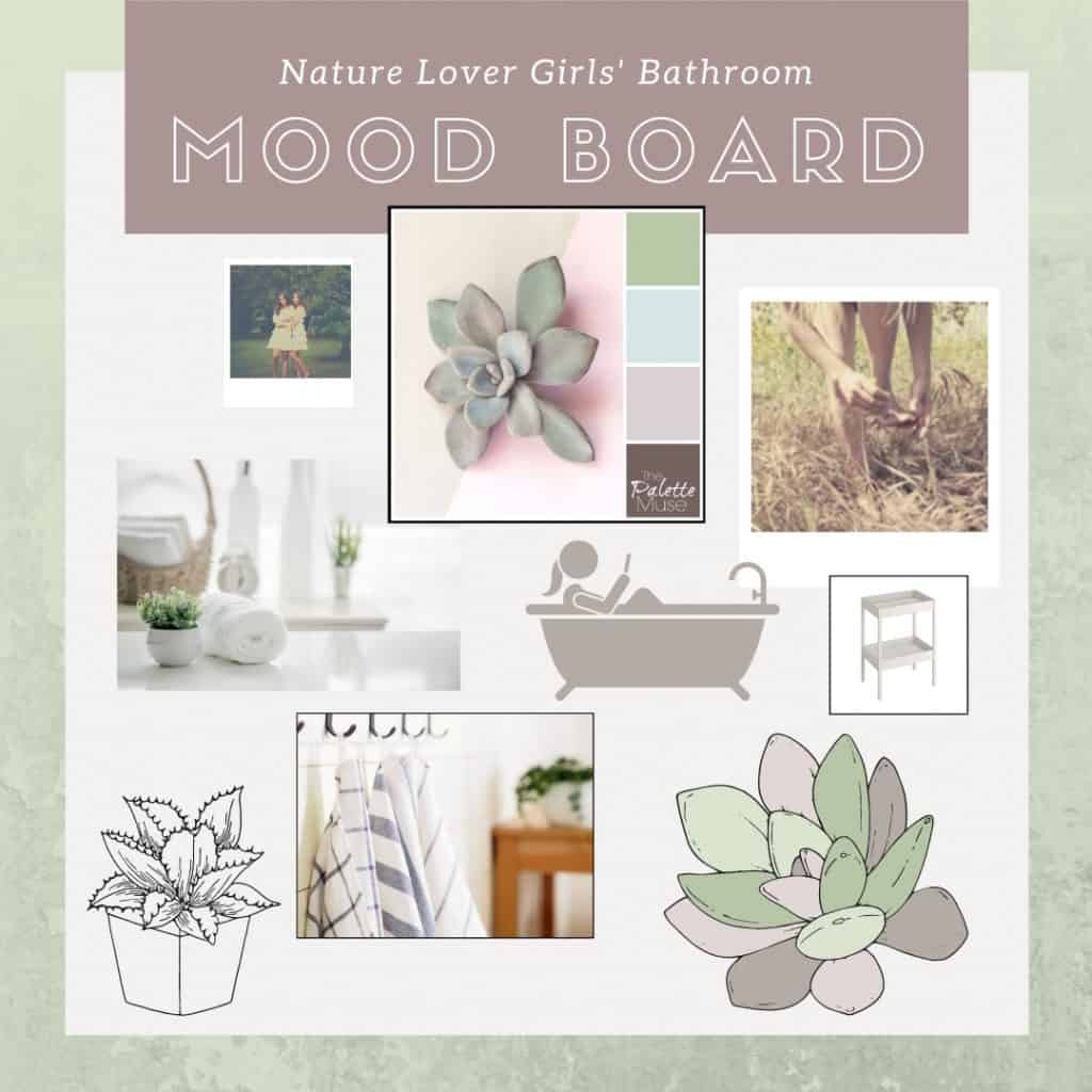 Nature Lovers Girls Bathroom Mood Board with succulents, sleek storage, natural wood elements, and luxurious linens.