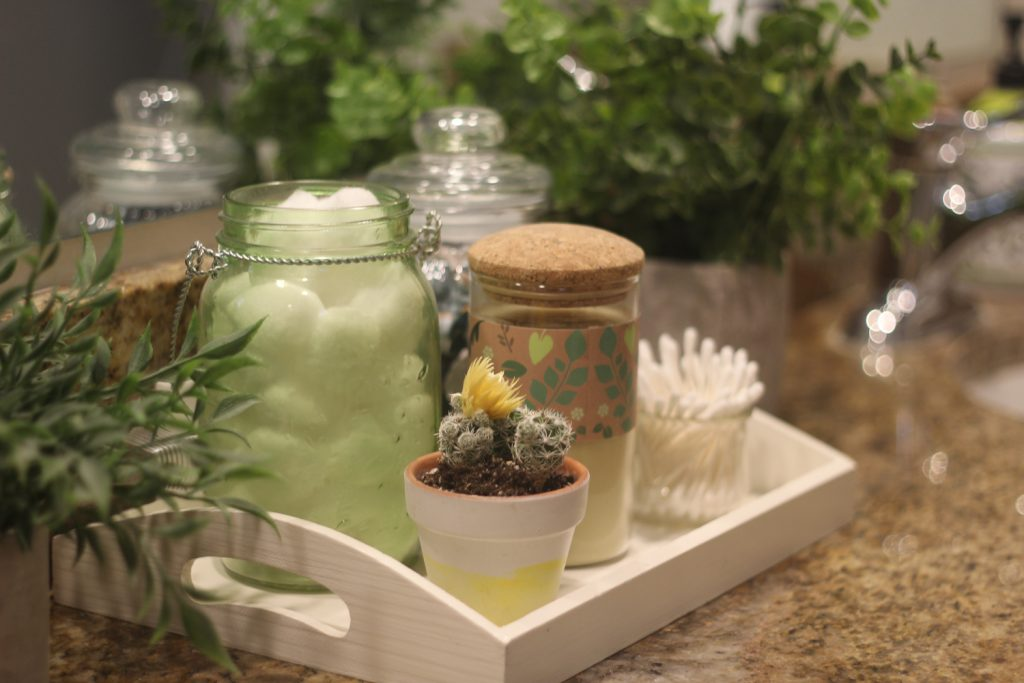 succulents and greenery centerpiece for girls bathroom makeover