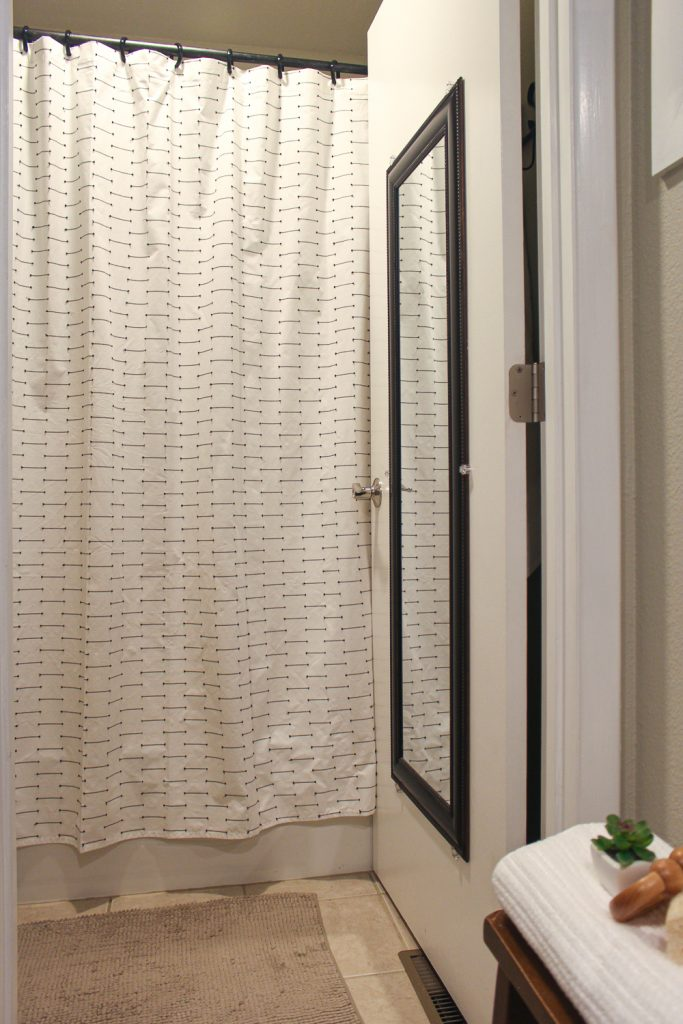 black and white patterned shower curtain for girls bathroom decor ideas