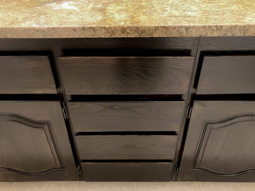 Dark stained oak cabinets