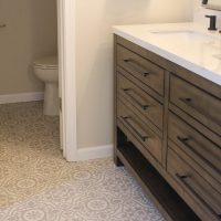 Modern bathroom with patterned tile floor