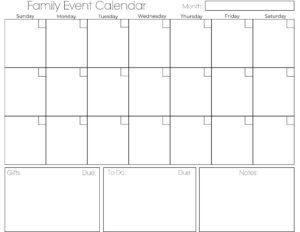 Family Event Calendar Printout