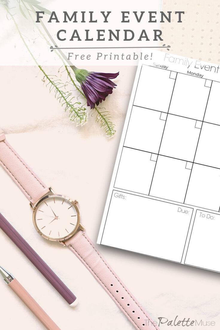 Family Event Calendar Free Printable