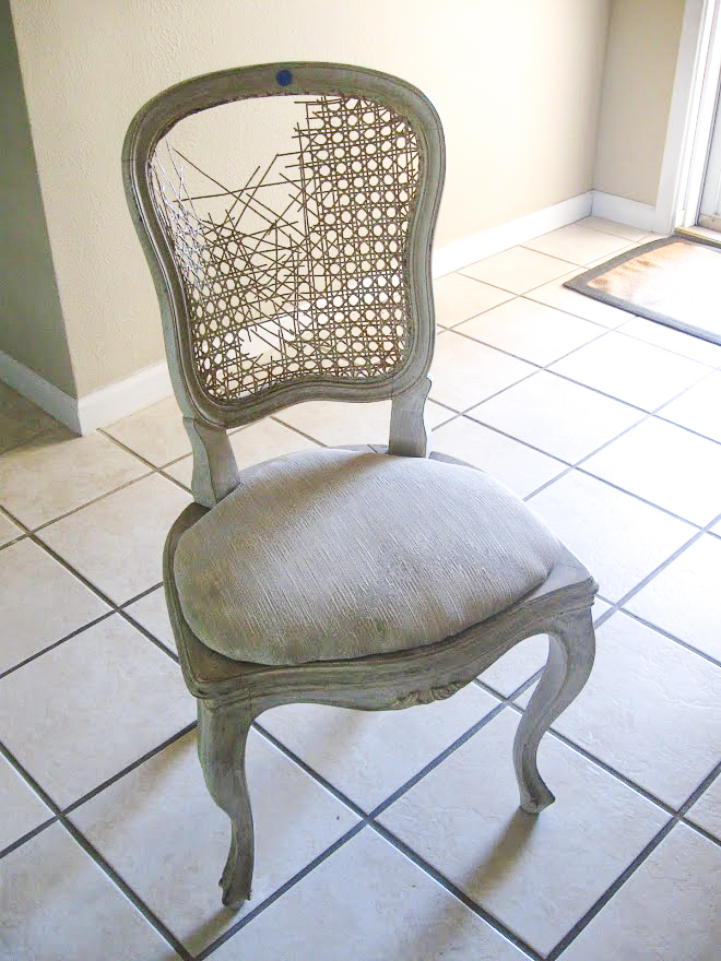 A broken, dingy and dirty thrift store chair in need of a makeover