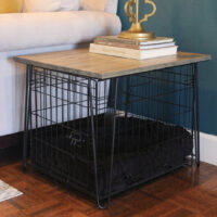 Close up of Custom Built Dog Crate Table