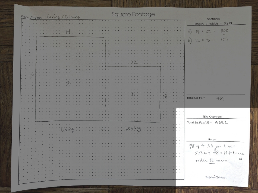 Square footage worksheet with notes section highlighted