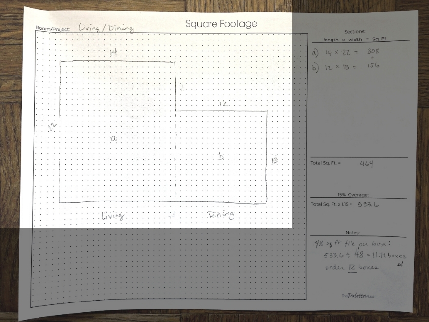 Measuring square footage worksheet with sketch of room highlighted