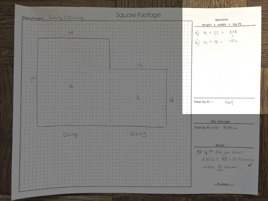 Measuring square footage on worksheet by breaking down sections to get total square feet