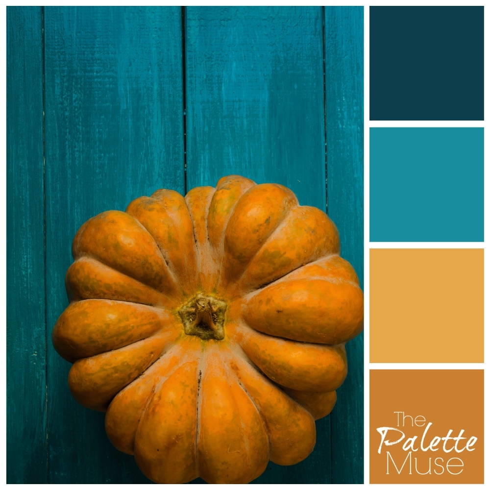 Color palette with oranges and blue-greens, from a photo of a plump orange resting on teal background.